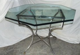 Octogonal Glass Top Table & Chairs