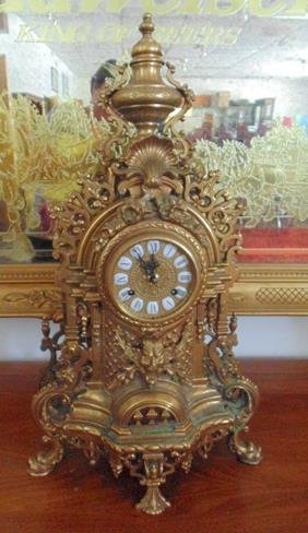 German Brass Ornate Mantle Clock