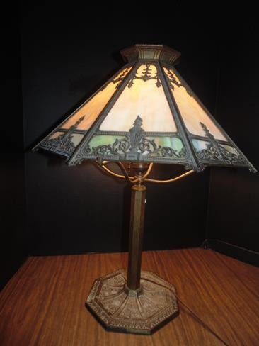 Slag  Glass Bradley & Hubbard Table Lamp