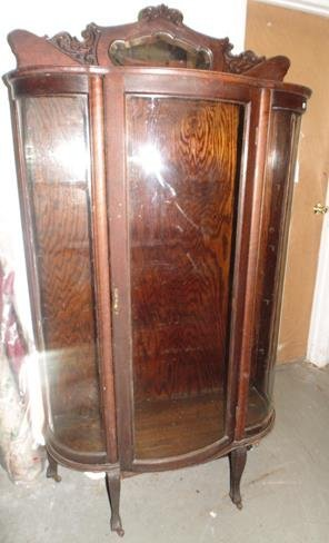 Oak Curved Glass China Cabinet with Back Splash