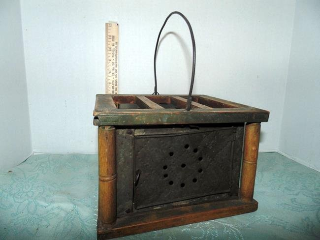 18thc Wood & Pierced Tin Bed Warmer