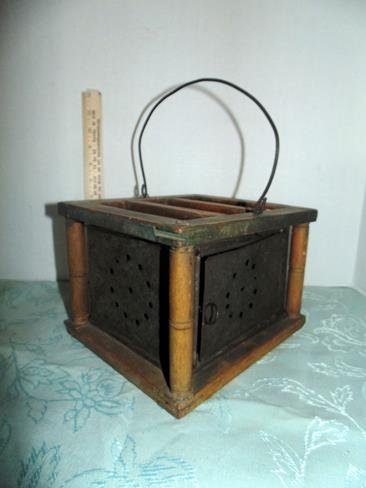 18thc Wood & Pierced Tin Bed Warmer - 2
