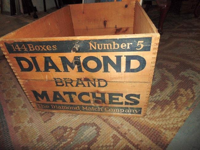Diamond Match Wood Advertising Crate