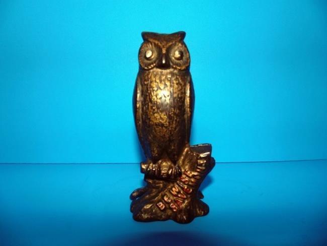 Owl Cast Iron Still Bank