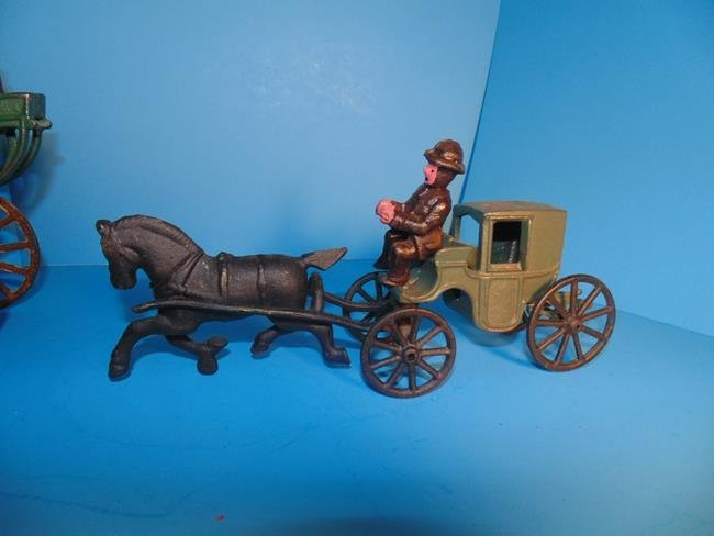 2 Horse Drawn Cast Iron Carriages - 2