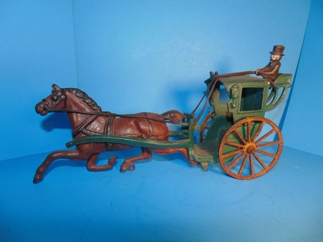 2 Horse Drawn Cast Iron Carriages - 3