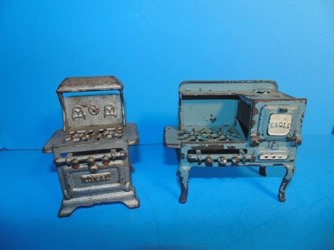 2 Cast Iron Toy Stoves