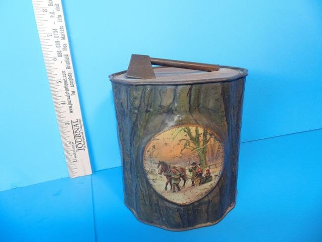Tree Trunk Tin With Ax Biscuit Tin