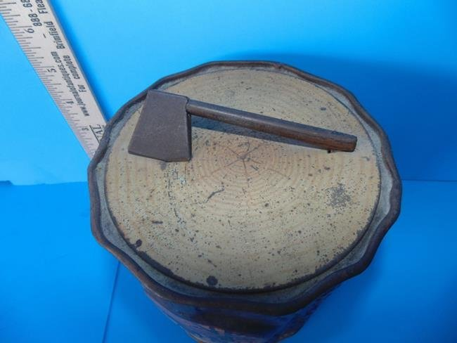 Tree Trunk Tin With Ax Biscuit Tin - 2
