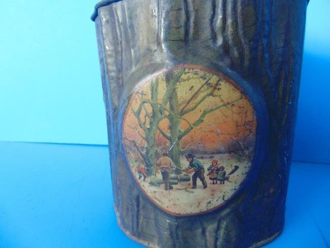Tree Trunk Tin With Ax Biscuit Tin - 3