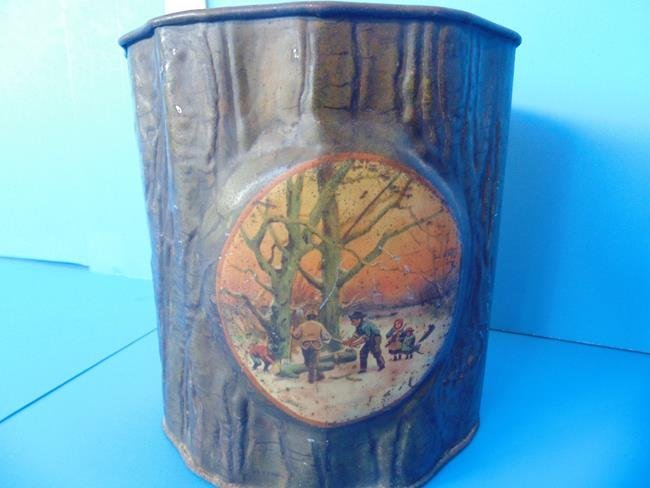 Tree Trunk Tin With Ax Biscuit Tin - 4