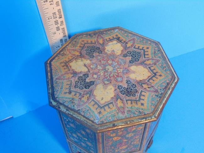 Middle Eastern Mosaic Style Tin Litho Biscuit Tin - 2
