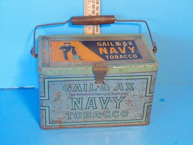 Gail & Ax Navy Tobacco Lunch Box Tin