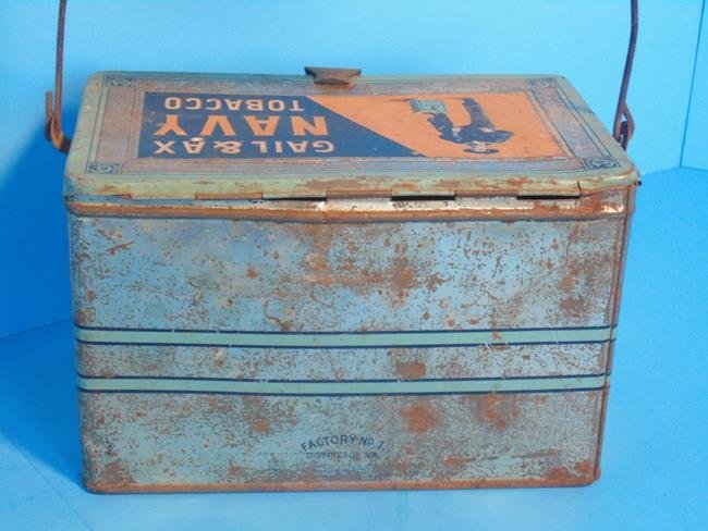 Gail & Ax Navy Tobacco Lunch Box Tin - 4
