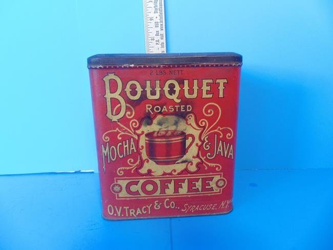 Bouquet Coffee Tin Litho Can