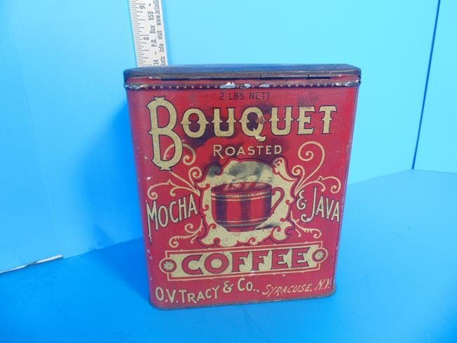Bouquet Coffee Tin Litho Can - 3