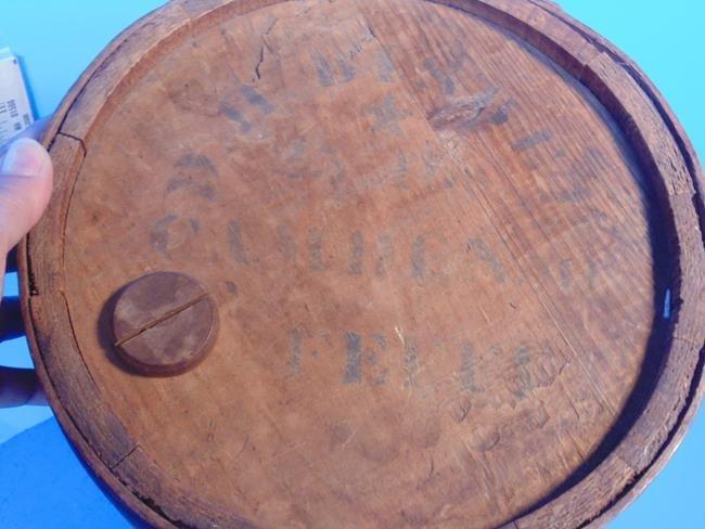 Wood Barrel Stenciled Top - 2
