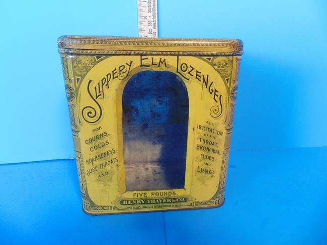 Slippery Elm Lozenges Tin Litho Container