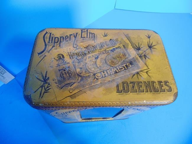 Slippery Elm Lozenges Tin Litho Container - 2