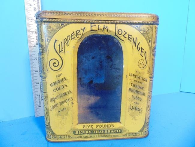 Slippery Elm Lozenges Tin Litho Container - 6