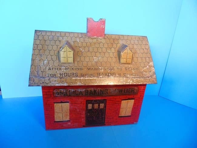 America Baking Powder Country Store Tin Litho Bin