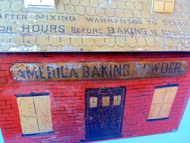 America Baking Powder Country Store Tin Litho Bin - 3