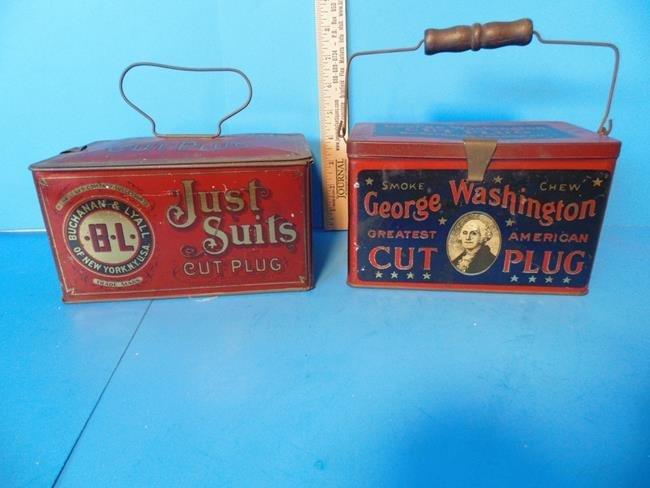 Just Suits & George Washington Tobacco Tins