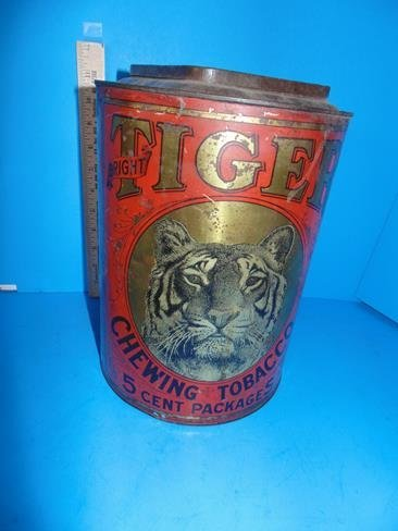 Tiger Chewing Tobacco Store Display Tin