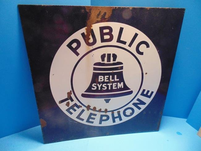 Porcelain Enamel Bell System Double Sided Sign
