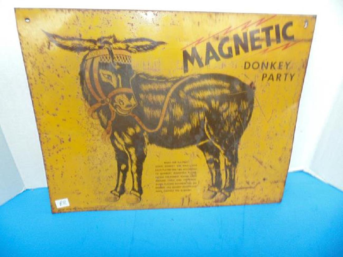 Tin Litho Pin The Tail On The Donkey Sign