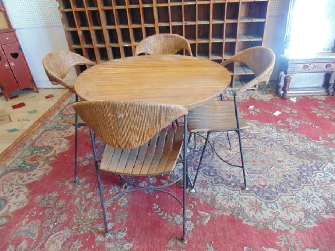 Mid Century Widker Table & Chairs Set