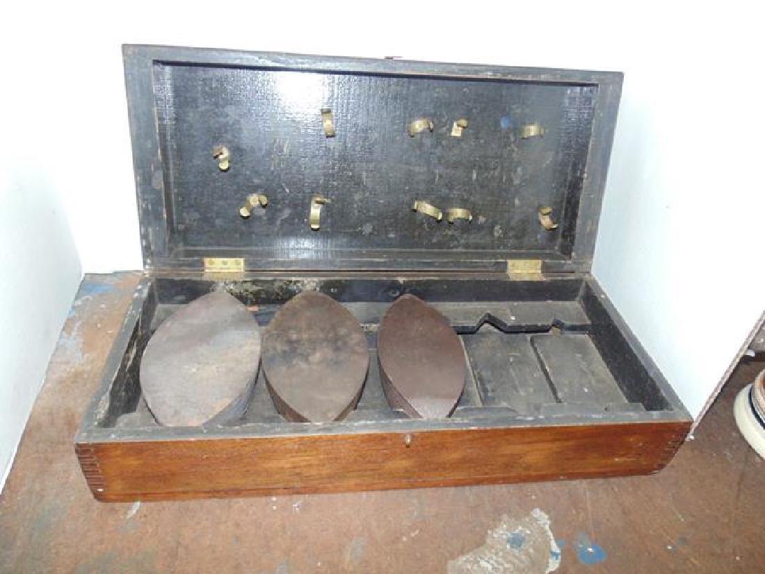 Wood Boxed Sad Irons