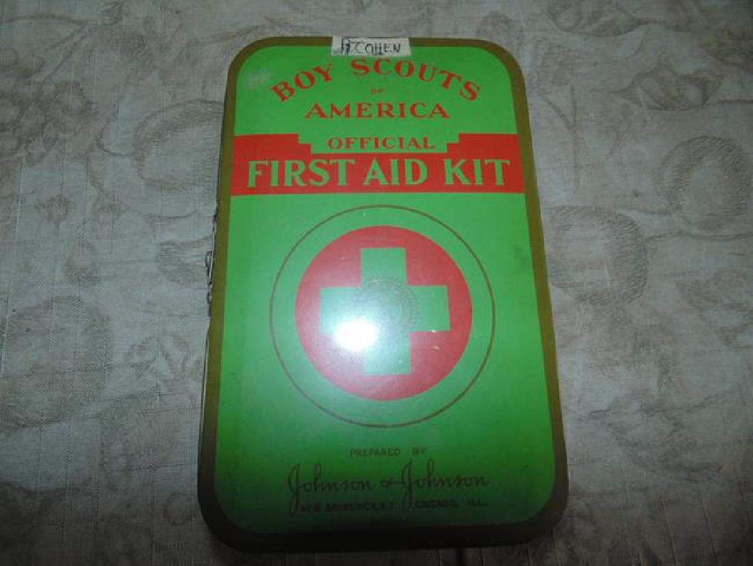 Johnson First Aid Kit in Tin LItho Box