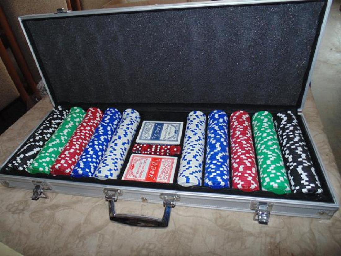 Poker Chips & Playing Cards in Metal Case