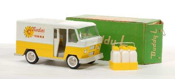 2: White and yellow Buddy L Borden milk delivery truck