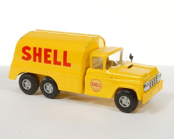 19: Ford Shell yellow pressed steel oil tank truck by ""