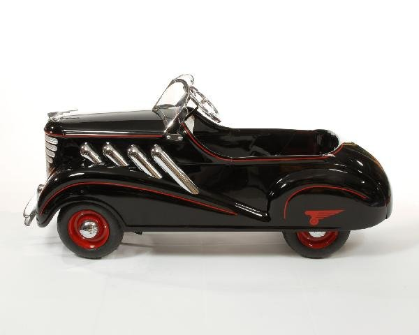 38: Black 1937 Steelcraft Auburn Supercharger pedal car