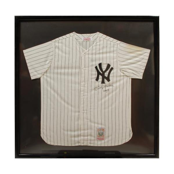 415: Yankees uniform shirt, autographed, Mickey Mantle