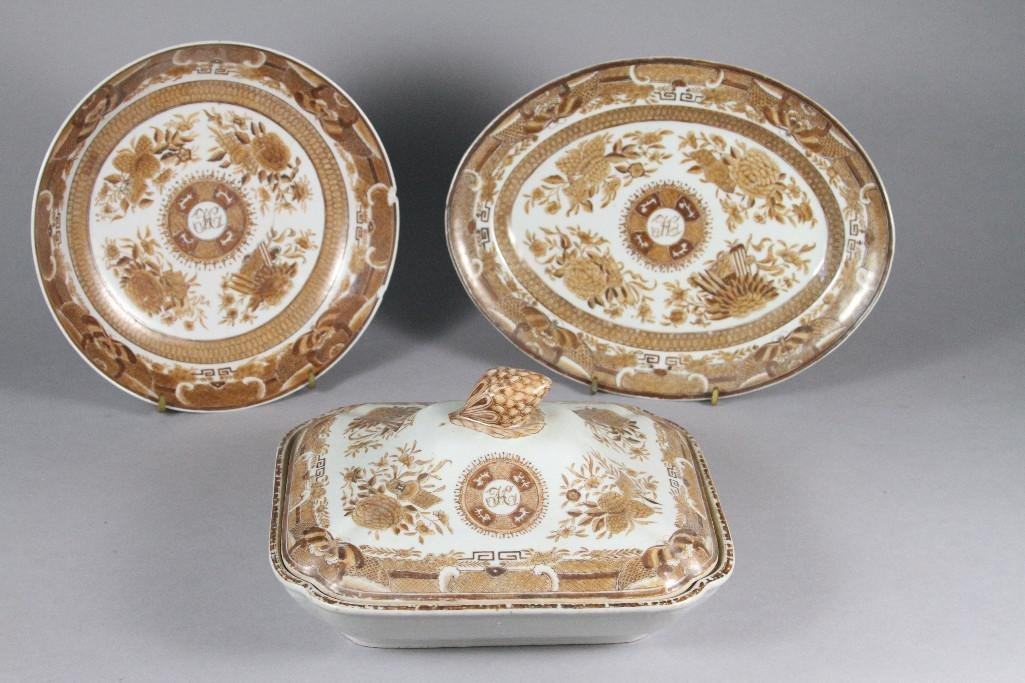 (3) pcs. of Chinese Export Brown Fitzhugh monogrammed