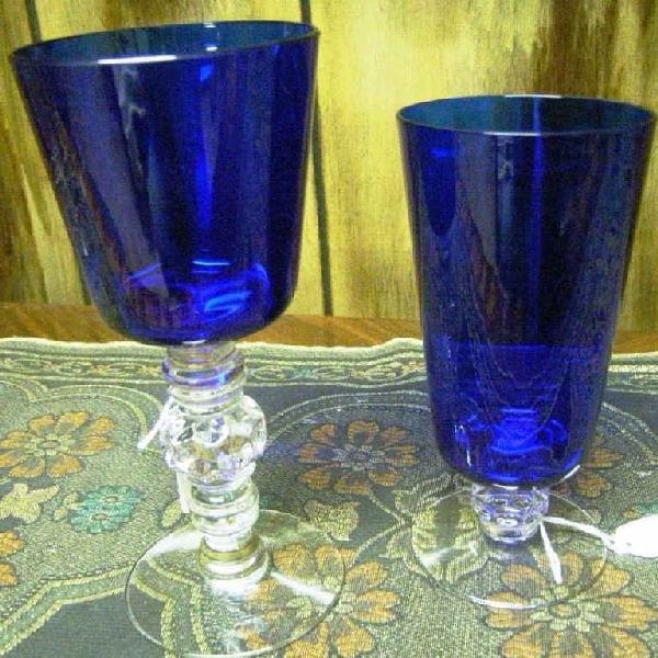 20: Heisey Cobalt Spanish Stem Glasses