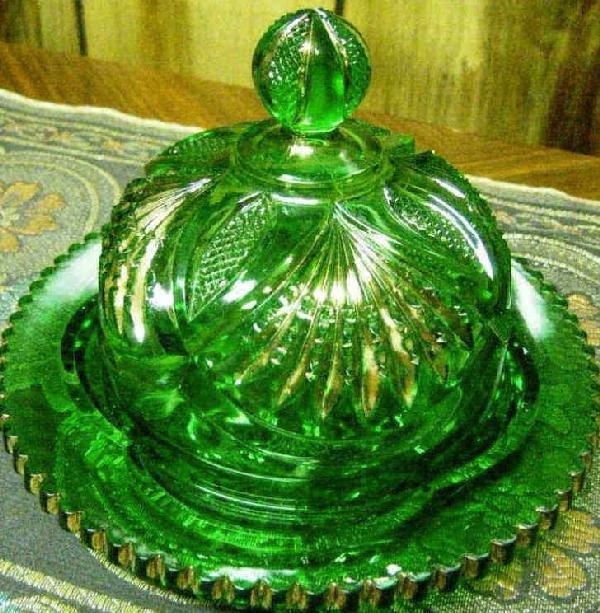 """31: Heisey Emerald 6"""" Pineapple & Fan Butter Dish"""