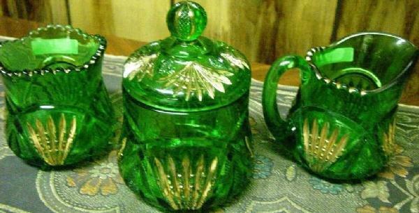 32: Heisey Emerald 3 Piece Pineapple Spooner, Sugar, An