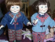 "313: Dolls Max & Moritz, Porcelain W/ Freckles, 12""tall"