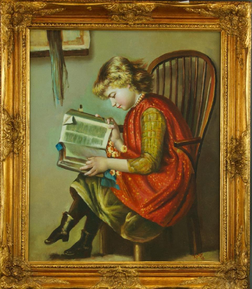 European Gilt Oil Painting On Canvas With Frame