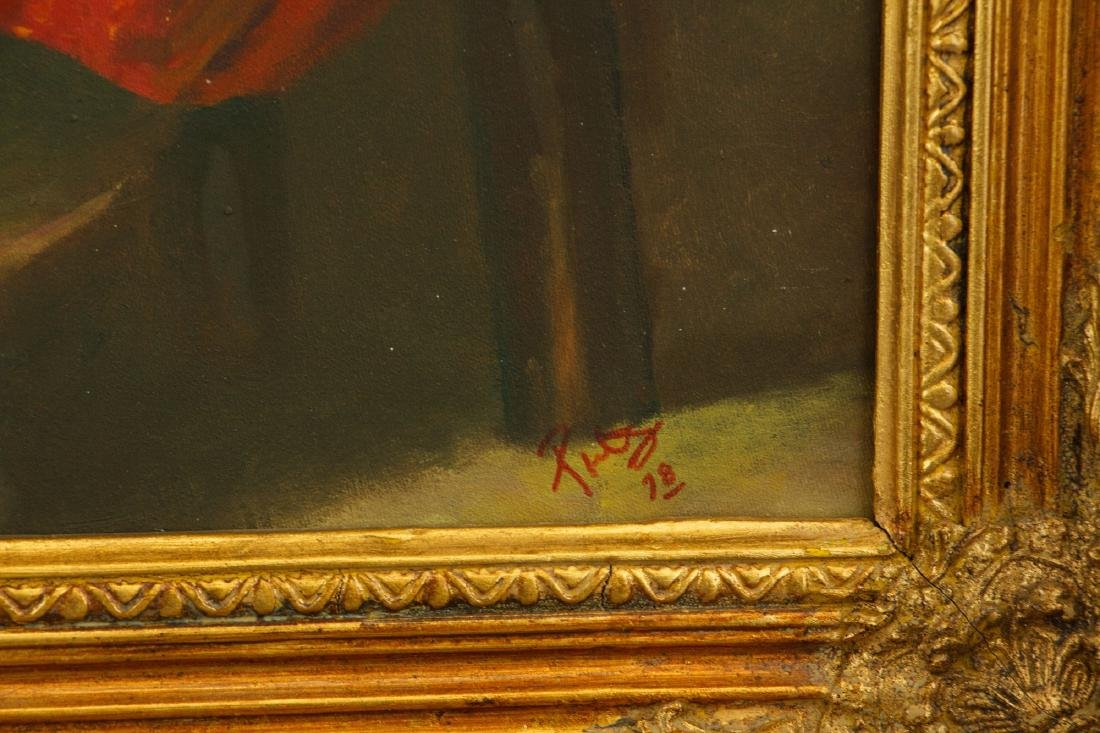 European Gilt Oil Painting On Canvas With Frame - 3