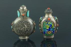 2 Pc Silver Snuff Bottles with Coral Decoration