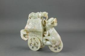 Chinese Green Jade Carved Dragon Wheel Box