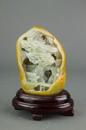 Chinese Hetian White Jade Boulder w/ Certificate