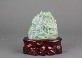 Chinese Green Jade Carved Boulder with Stand