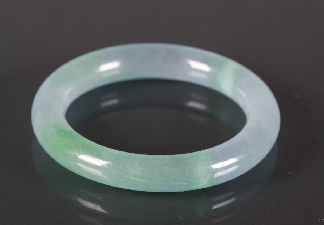 Chinese Celadon Green Jadeite Carved Bangle